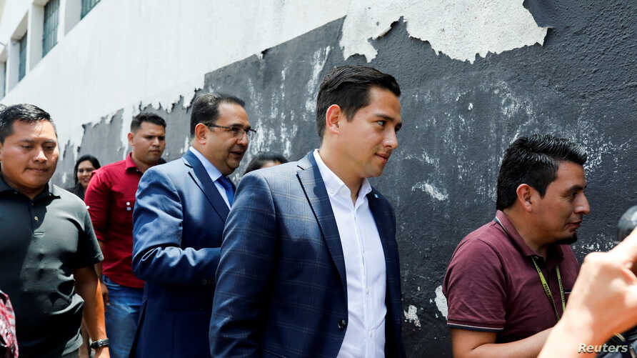 Jose Manuel Morales, son of Guatemalan President Jimmy Morales, reacts after being acquitted by a Guatemalan court on corruption charges, in Guatemala City, Guatemala, Aug. 19, 2019.