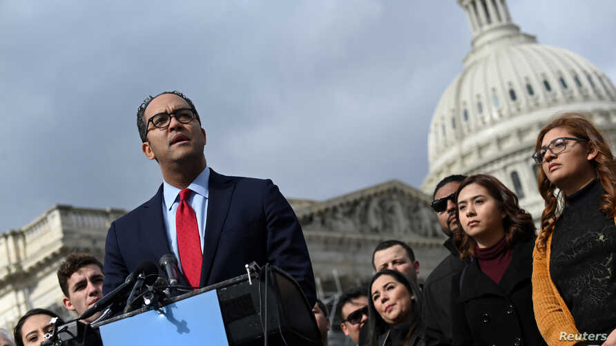 FILE - U.S. Rep. Will Hurd, a Texas Republican, speaks at a news conference outside the Capitol in Washington, Feb. 13, 2019.