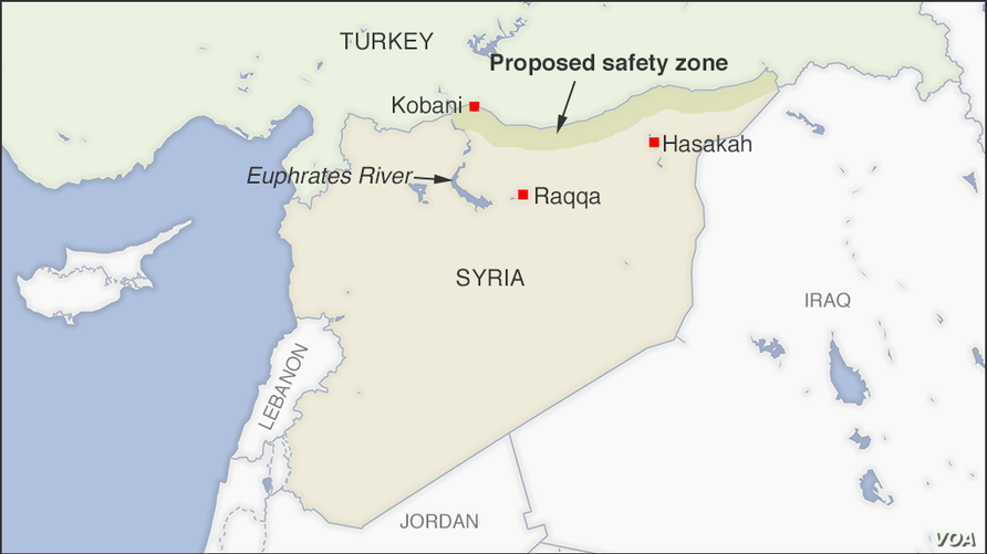 Map of Proposed safety zone in Syria