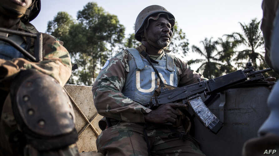 A South African soldier from the United Nations Stabilization Mission in the Democratic Republic of the Congo (MONUSCO) is seen during a patrol to hold off attacks by the Allied Democratic Forces rebels in Oicha, DRC, Oct. 08, 2018.