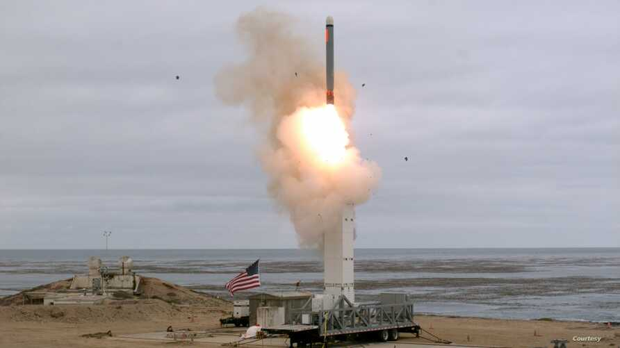 The Defense Department conducted a flight test of a conventionally configured ground-launched cruise missile at San Nicolas Island, Calif., Aug. 18, 2019. (Photo courtesy of Defense.gov)