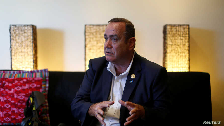 The winner of Guatemala's presidential election, Alejandro Giammattei, talks during an interview with Reuters in Guatemala City, Guatemala, Aug. 11, 2019.