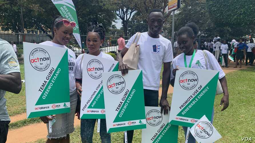 Young people gather to protest land, forest and wetland degradation, in Kampala, Uganda, Sept. 20, 2019. (H. Athumani/VOA)