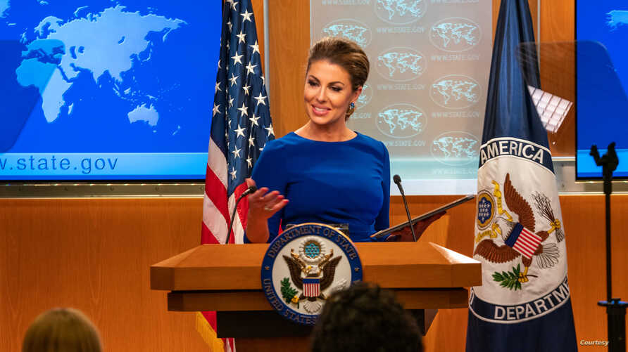 Department Spokesperson Morgan Ortagus holds a press briefing at the U.S. Department of State in Washington, Sept. 12, 2019. (Photo courtesy of the State Department)