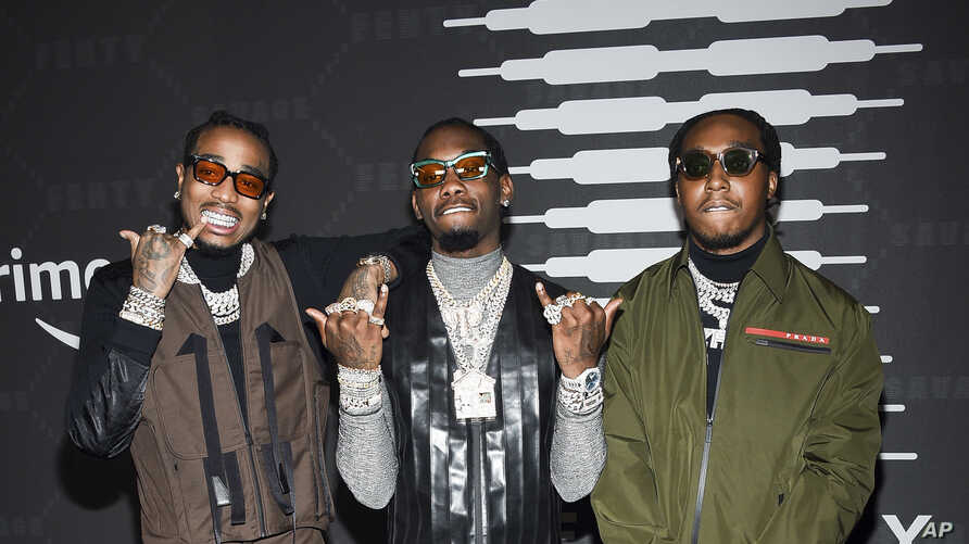 Quavo, Offset, and Takeoff of Migos attend Rihanna's Savage X Fenty show, presented by Amazon Prime, at the Barclays Center in New York, Sept, 10, 2019.