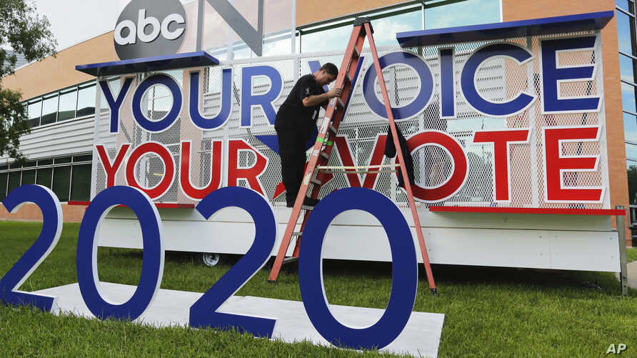 Signage is erected for the upcoming Democratic presidential primary debates hosted by ABC on the campus of Texas Southern Univer