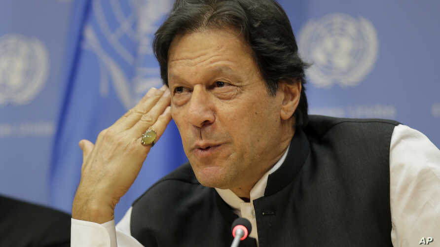 Imran Khan, Prime Minister of Pakistan, speaks to reporters during a news conference at United Nations headquarters, Sept. 24, 2019.