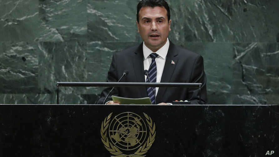 North Macedonia's Prime Minister Zoran Zaev addresses the 74th session of the United Nations General Assembly, Sept. 26, 2019, at the U.N. headquarters in New York City.