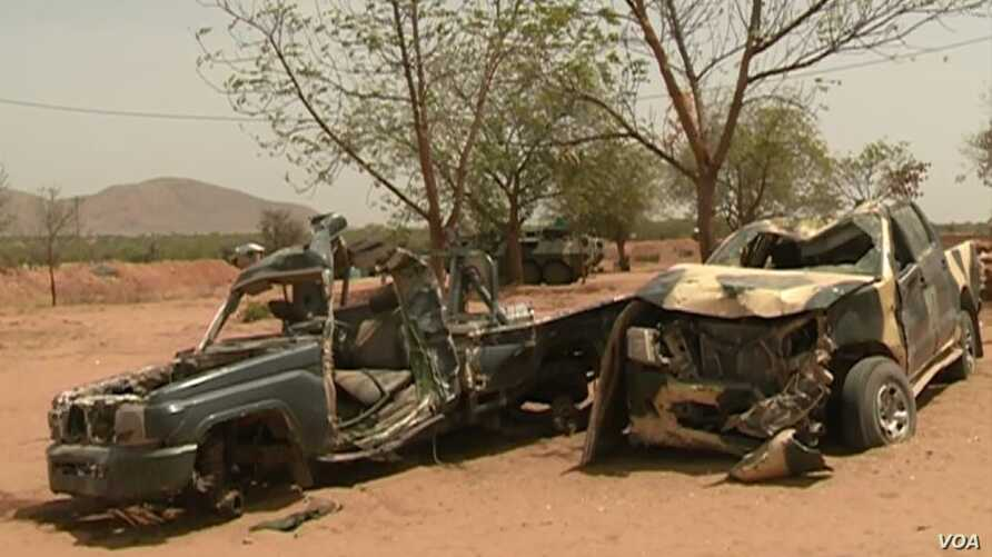 Remnants of Boko Haram vehicles destroyed by Cameroon army in Dec. 2018, in Amchide, Cameroon, Sept. 12, 2019.