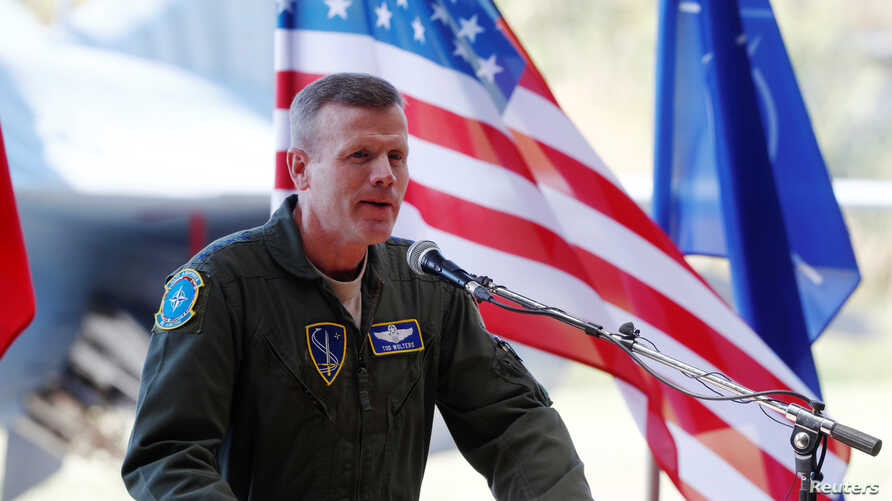 U.S. Air Forces in Europe Commander Tod D. Wolters speaks during NATO Baltic ceremony in Siauliai, Lithuania, Aug. 30, 2017.