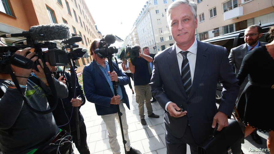 U.S. Special Presidential Envoy for Hostage Affairs Robert C. O'Brien arrives to the district court, during the second day of ASAP Rocky's trial, in Stockholm, Sweden August 1, 2019.