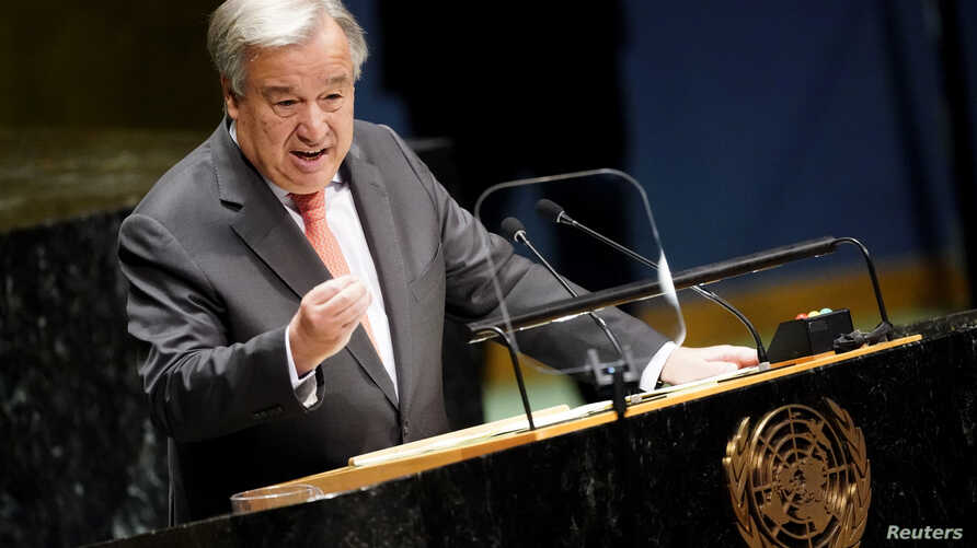 United Nations Secretary General Antonio Guterres addresses the opening of the 74th session of the United Nations General Assembly at U.N. headquarters in New York City, New York