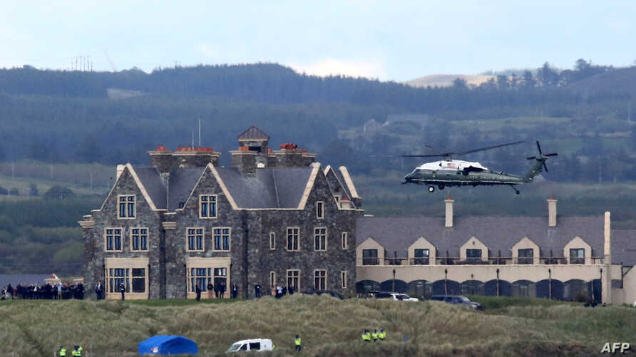 Marine One, carrying President Donald Trump comes in to land at the Trump International Golf resort near the village of Doonbeg, Ireland, June 6, 2019. Vice President Mike Pence and his entourage stayed there this week at U.S. taxpayers' expense.