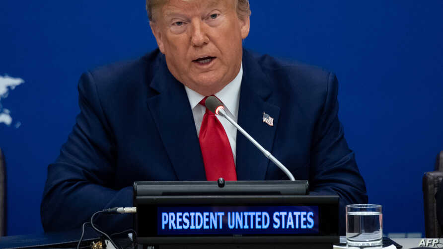 FILE - US President Donald Trump attends a United Nations event on Religious Freedom at UN Headquarters in New York, Sept. 23, 2019, on the sidelines of the UN General Assembly.