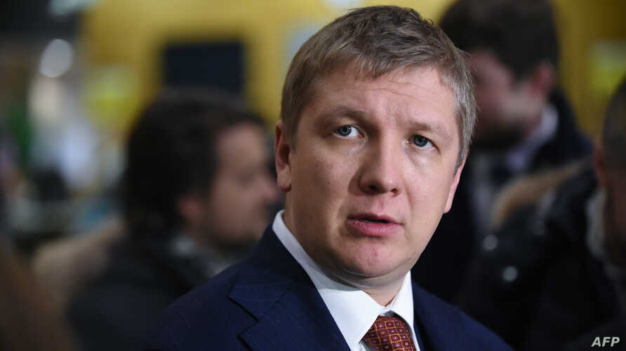 FILE - Ukraine's oil and gas company Naftogaz Chief Executive Officer Andriy Kobolyev talks during a press conference at EU headquarters in Brussels, Jan. 21, 2019.