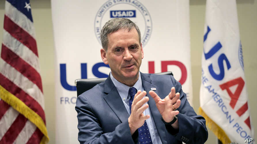 United States Agency for International Development (USAID) Administrator Mark Green speaks about the Ebola situation in Congo and the U.S. Government's response, at a press conference in Nairobi, Kenya, June 18, 2019.