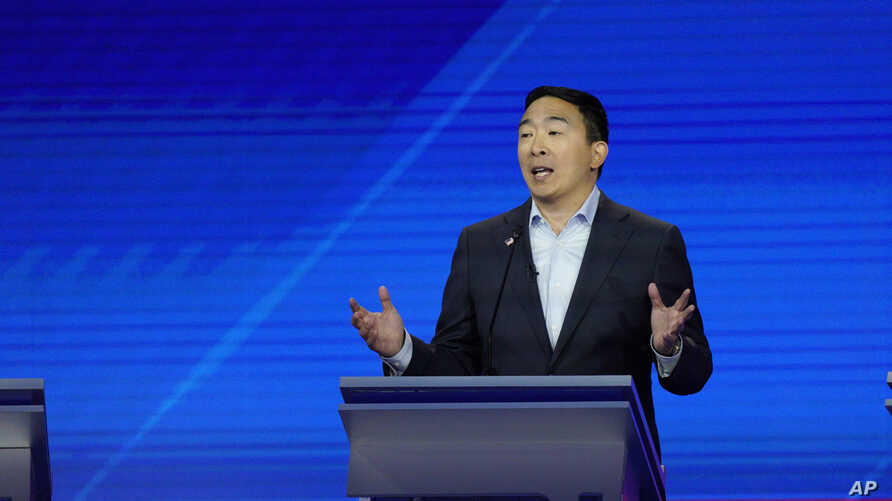 Democratic presidential candidate entrepreneur Andrew Yang gives his closing statement, Sept. 12, 2019, during a Democratic presidential primary debate hosted by ABC at Texas Southern University in Houston.