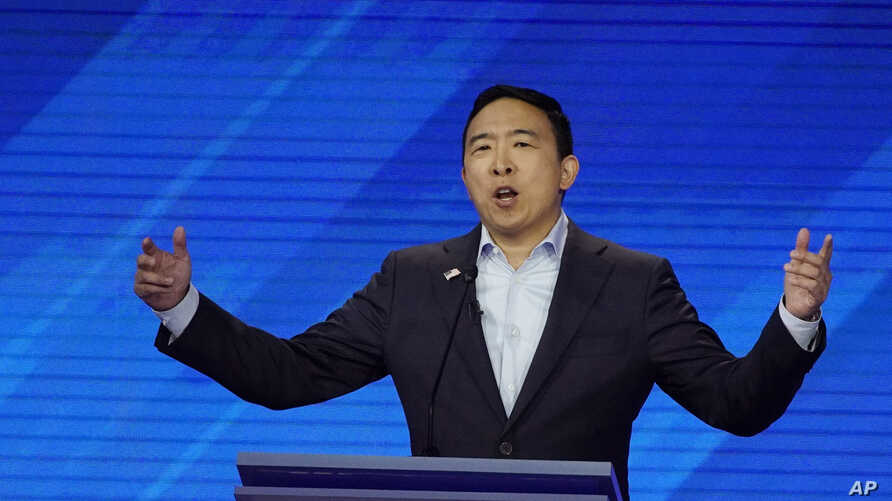 Democratic presidential candidate entrepreneur Andrew Yang speaks, Sept. 12, 2019, during a Democratic presidential primary debate hosted by ABC at Texas Southern University in Houston.