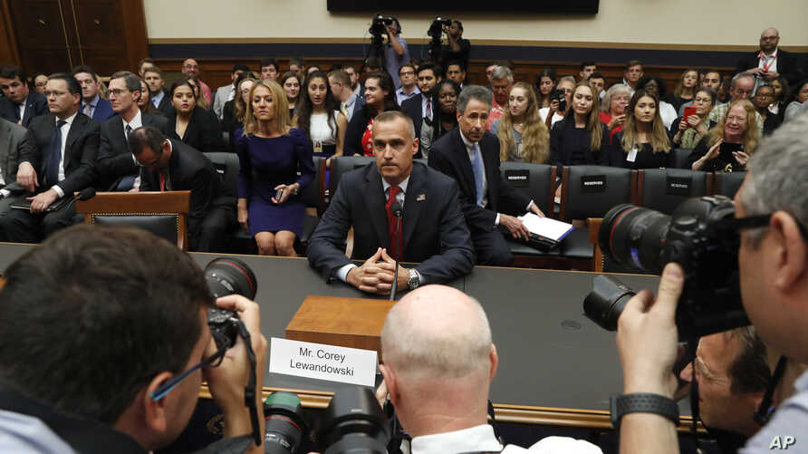 Corey Lewandowski, the former campaign manager for President Donald Trump, arrives to testify to the House Judiciary Committee, Sept. 17, 2019, in Washington.
