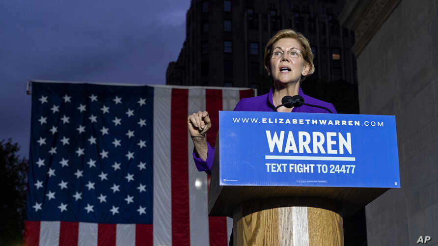 Democratic presidential candidate U.S. Sen. Elizabeth Warren addresses supporters at a rally, Sept. 16, 2019, in New York.