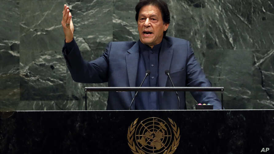 Pakistan's Prime Minister Imran Khan addresses the 74th session of the United Nations General Assembly, in New York, Sept. 27, 2019.