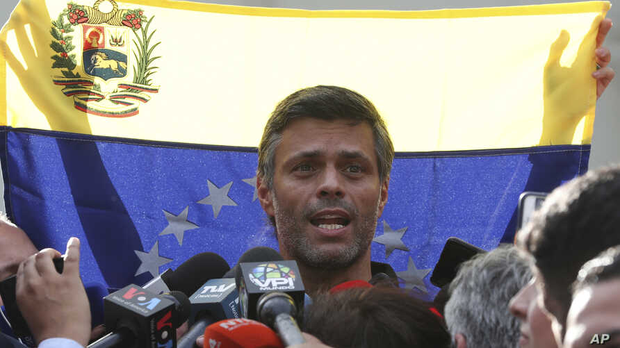 Venezuelan opposition leader Leopoldo Lopez speaks during a news conference outside the Spanish ambassador's residence, in Caracas, Venezuela, May 2, 2019.
