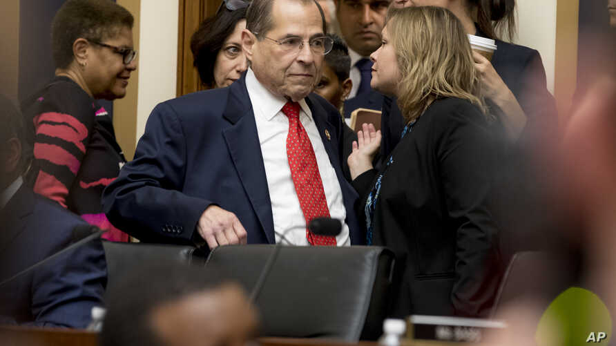 House Judiciary Committee Chairman, Rep. Jerrold Nadler, a Democrat, arrives for a hearing, on Capitol Hill, in Washington, July 24, 2019.