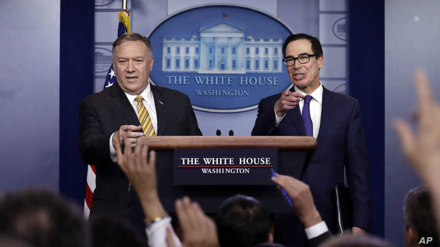 U.S. Secretary of State Mike Pompeo and Treasury Secretary Steve Mnuchin take questions during a briefing on terrorism financing at the White House, Sept. 10, 2019, in Washington.