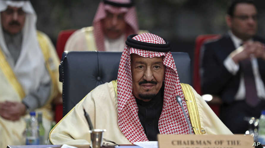 FILE - Saudi Arabia's King Salman attends a meeting of leaders at an EU-Arab summit in Sharm El Sheikh, Egypt, Feb. 24, 2019.