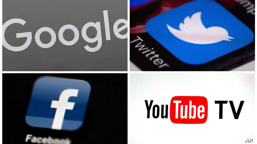 FILE - a combination photo shows, clockwise, from upper left: a Google logo, the Twitter icon, a YouTube TV logo and a Facebook icon.