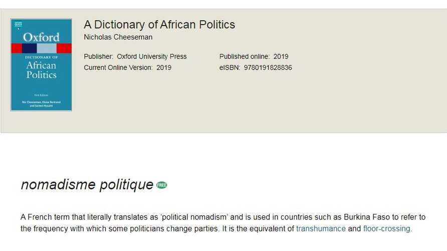 an entry in the dictionary of african politics