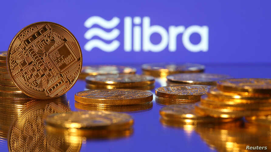 "Representations of Facebook's virtual currency ""Libra"" are displayed in an illustration picture, June 21, 2019."