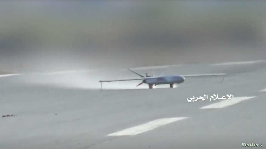 FILE - A 'Sammad 3' drone takes off from an unidentified location in Yemen in this still image taken from video released by Houthi-run Al-Masirah TV, July 9, 2019.