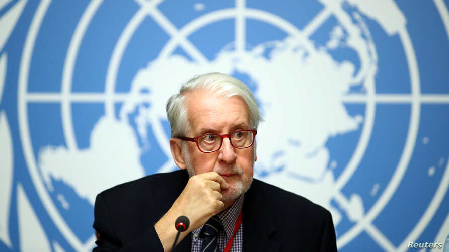 FILE - Paulo Pinheiro, chair of the Independent International Commission of Inquiry on Syria, attends a news conference during a session of the Human Rights Council at the United Nations in Geneva, Switzerland, Sept. 11, 2019.