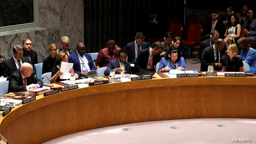 FILE - Members of the U.N. Security Council are seen during a meeting at U.N. headquarters in New York, Sept. 12, 2019.