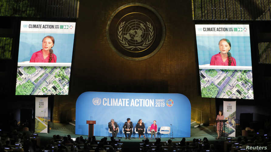 16-year-old Swedish Climate activist Greta Thunberg speaks at the 2019 United Nations Climate Action Summit at U.N. headquarters in New York City, New York,  Sept. 23, 2019.
