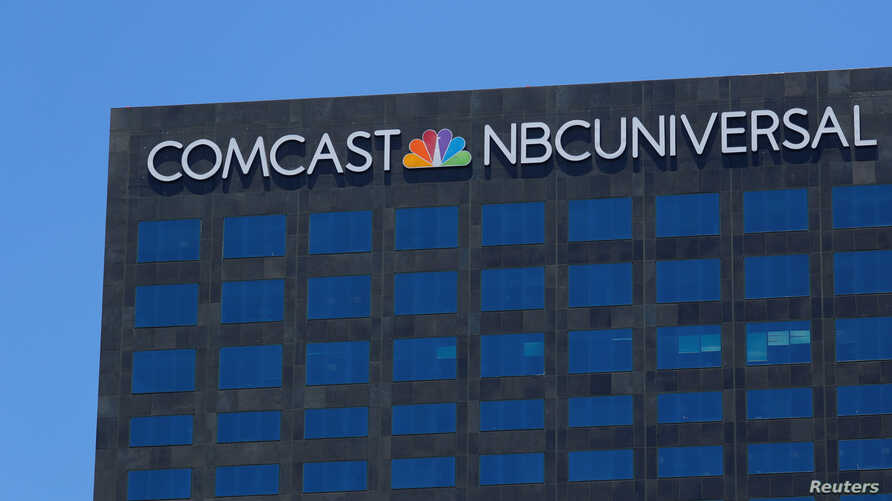 The Comcast NBCUniversal logo is shown on a building in Los Angeles, California, June 13, 2018.