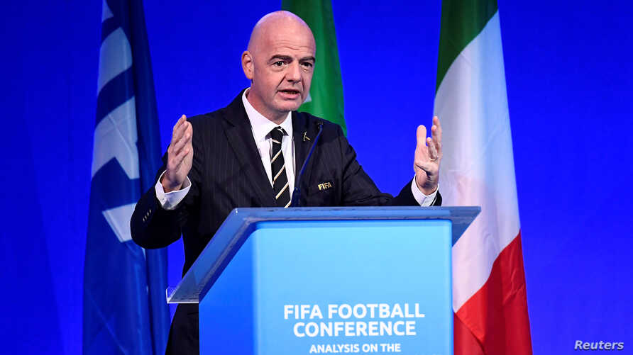 FIFA President Gianni Infantino speaks during the FIFA Football Conference in Milan, Italy, Sept. 22, 2019.