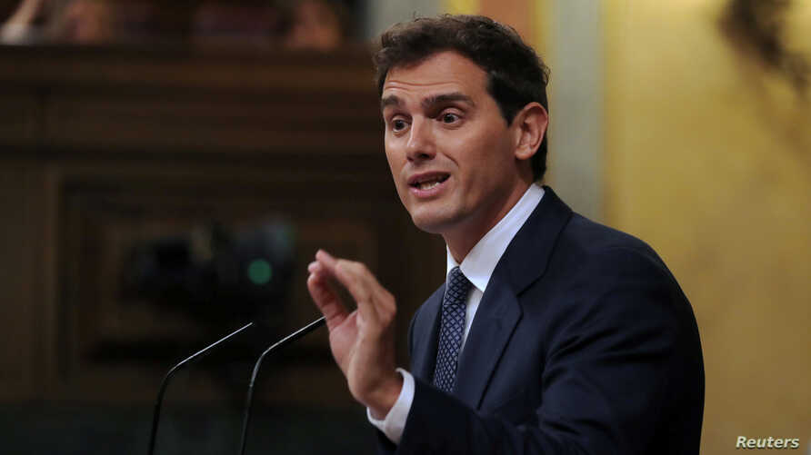 FILE - Ciudadanos leader Albert Rivera delivers a speech during the investiture debate at the Parliament in Madrid, Spain, July 22, 2019.