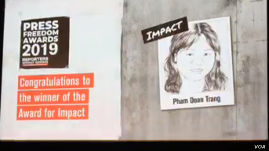 Reporters Without Borders (RSF) awarded Vietnamese journalist and blogger Pham Doan Trang a 2019 Press Freedom Prize for Impact, Sept. 12, 2019 in Berlin.