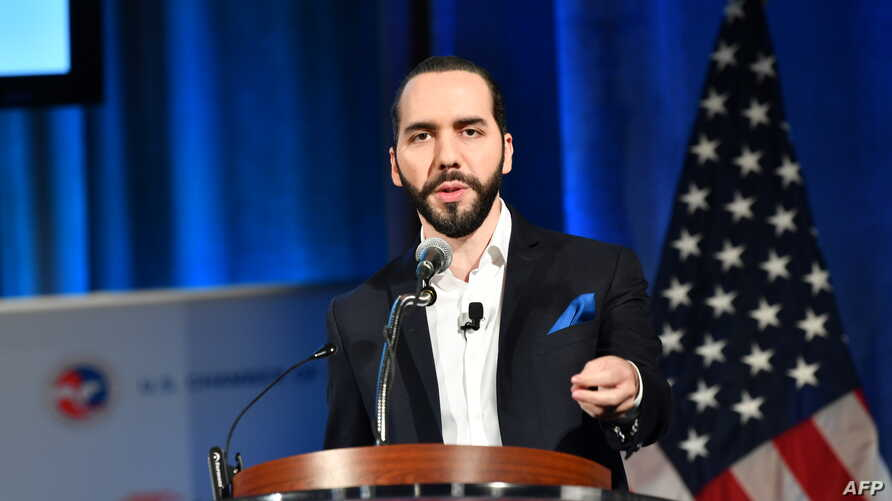 The President of El Salvador Nayib Bukele speaks at a conference on the 2019 Forecast on Latin America and the Caribbean on…