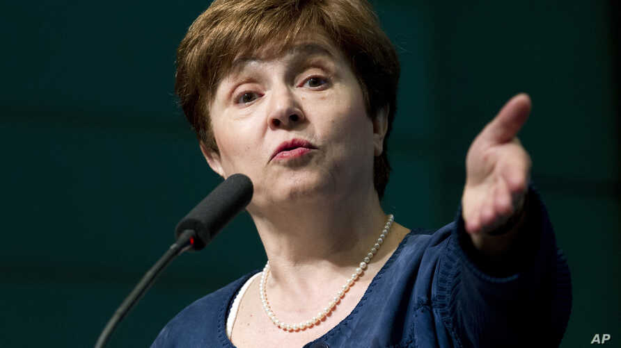 FILE - The World Bank CEO Kristalina Georgieva speaks during the forum Frontiers in Anticorruption at the World Bank/IMF annual spring meeting in Washington, April 18, 2018.