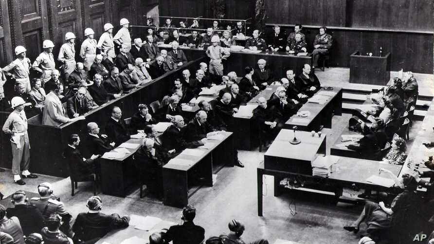 This 1945 file picture shows the interior view of the court room of the Nuremberg Trials against Top Nazis in Nuremberg.