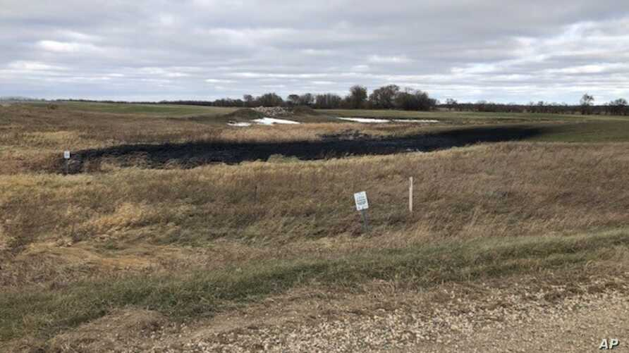 This Oct. 30, 2019 photo shows affected land near Bismark, ND