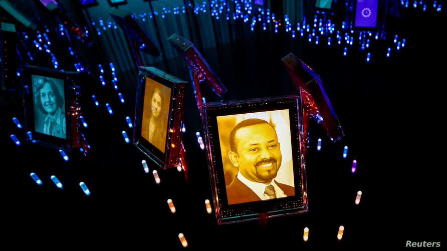 A picture of the 2019 Nobel Peace Prize Laureate, Ethiopian Prime Minister Abiy Ahmed, is displayed at the Nobel Peace Center…