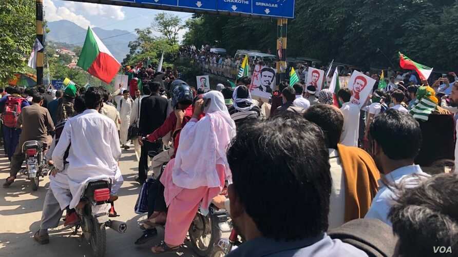 Residents of Pakistan-held Kashmir rallied Saturday against India's recent actions in its part of Kashmir, Oct. 05, 2019.