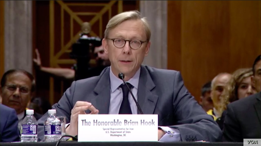 U.S. Special Representative for Iran Brian Hook testifies at a Senate Foreign Relations Committee hearing about U.S. policy on Iran, October 16, 2019. (Screen grab of Senate foreign relations committee live stream)
