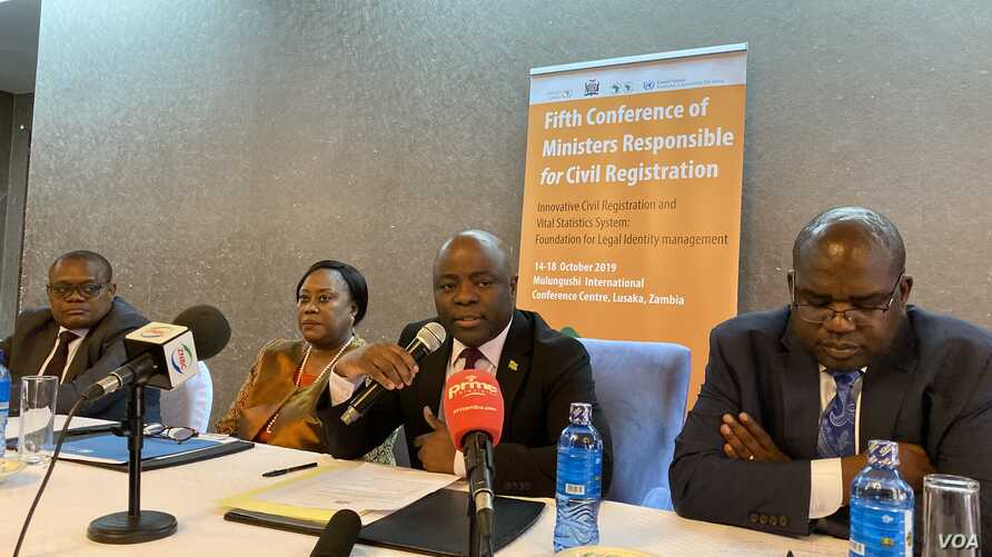 AU and UN officials are meeting in Lusaka for the Fifth Conference of African Ministers Responsible for Civil Registration, Lusaka, Zambia, Oct. 15, 2019. (C. Mavhunga/VOA)