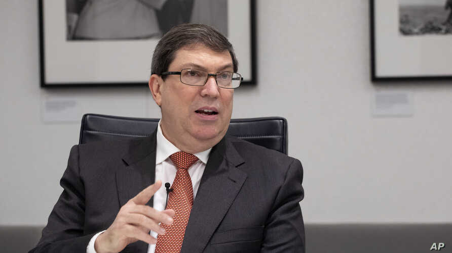 Cuban Foreign Minister Bruno Rodriguez Parrilla talks during an interview with The Associated Press, Oct. 1, 2019 in New York.