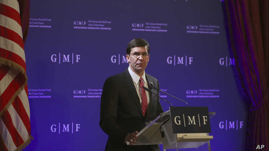 U.S. Secretary for Defense Mark Esper speaks during an event at the Concert Noble in Brussels, Belgium, Oct. 24, 2019.